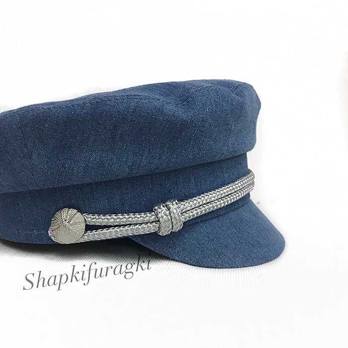 Кепка капитанка женская из ткани джинса с серебристым филигранным шнуром 153