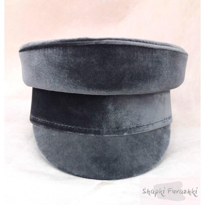 Картуз-кепи бархатный серый 049