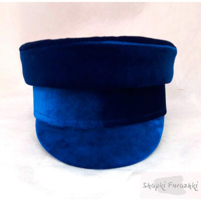 Картуз-кепи бархатный синий 051