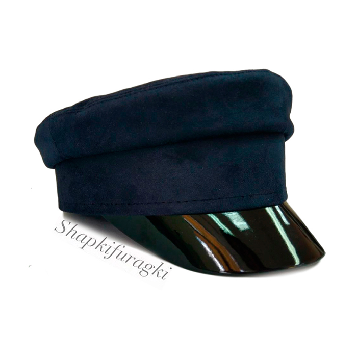 Кепи-картуз женский из синей замши 001
