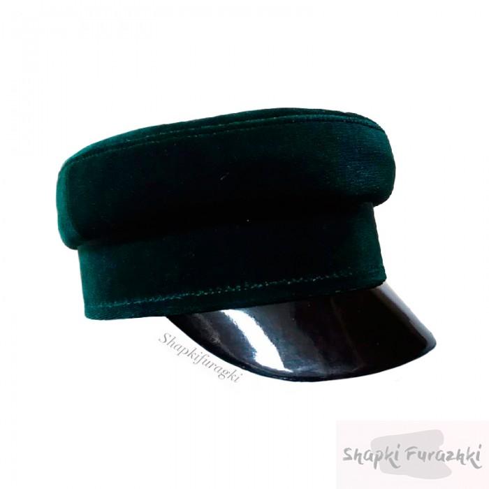 Кепи-картуз женский из бархата, цвет темно-зеленый 027